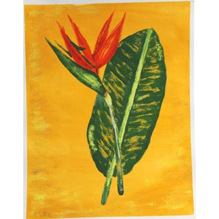 Chinoiserie Botanical Tropical Flower Painting by Cleo Plowden For Sale