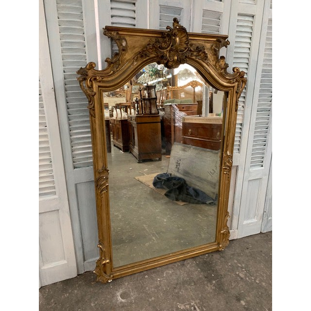 French Provincial 18th Century Grand Napoleon III Wall Mirror For Sale - Image 3 of 11