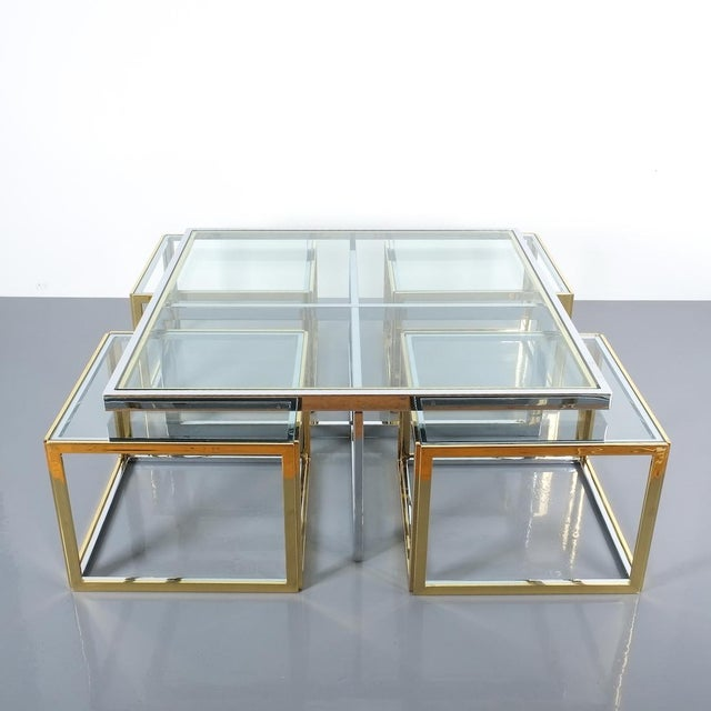 Mid-Century Modern Square Segment Bicolor Brass Glass Coffee Table by Maison Charles, France 1975 For Sale - Image 3 of 13