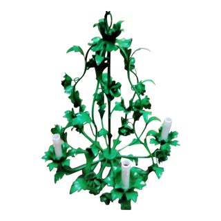 Custom Vintage Tole Kelly Green Gloss 5 Light Floral Chandelier With Leopard Mini Shades For Sale