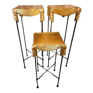 Labarge Gold Leaf Swag Top Pedestal Tables - Set of 3 For Sale