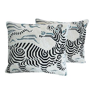 "Clarence House Dragon Fabric Feather/Down Pillows 24"" X 22"" - Pair For Sale"