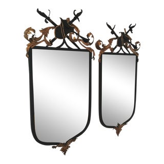 1950s French Metal Shield Mirrors - a Pair For Sale