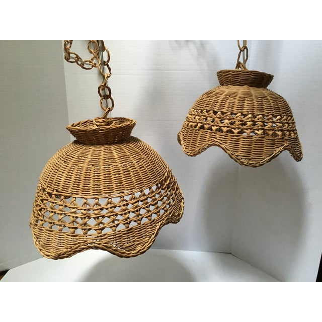 Chrome Vintage Wicker Pendant Lights - a Pair For Sale - Image 7 of 7