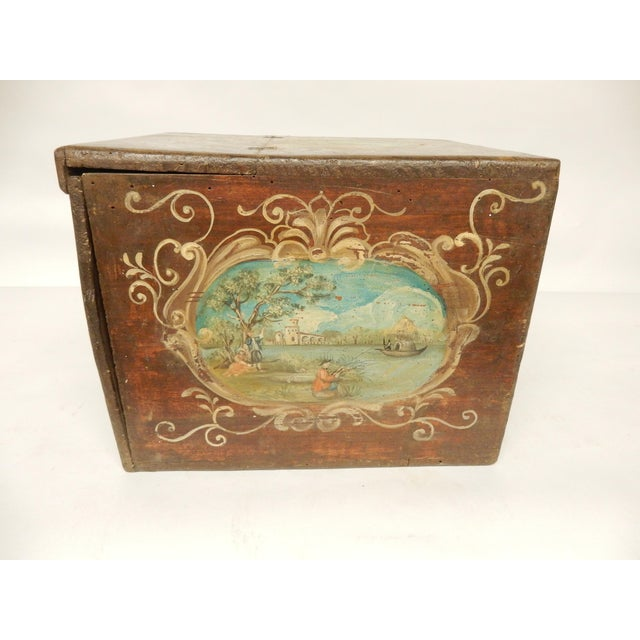 19th C. Italian herb box with painted scenes on each side.