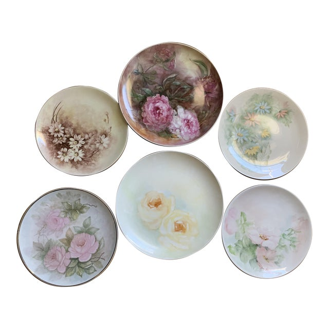 1940s Hand Painted Floral Decorative Wedding Plates - Set of 7 For Sale