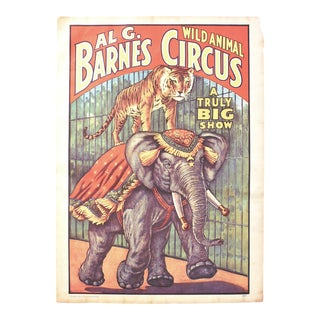 Vintage Tiger & Elephant Wild Animals Circus Poster For Sale