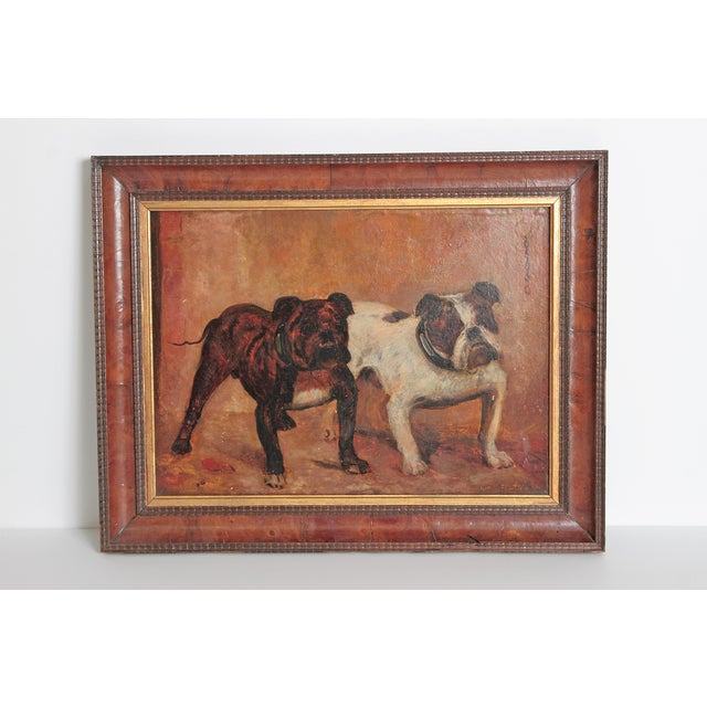 Oil Paint Small Oil Painting on Board of Dogs For Sale - Image 7 of 13