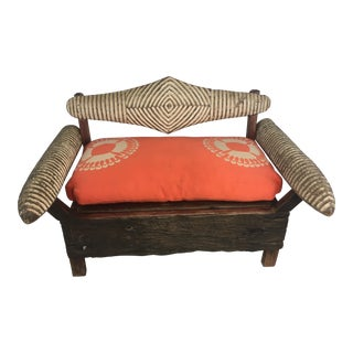 Custom Made African Bench Made From Antique War Shields For Sale