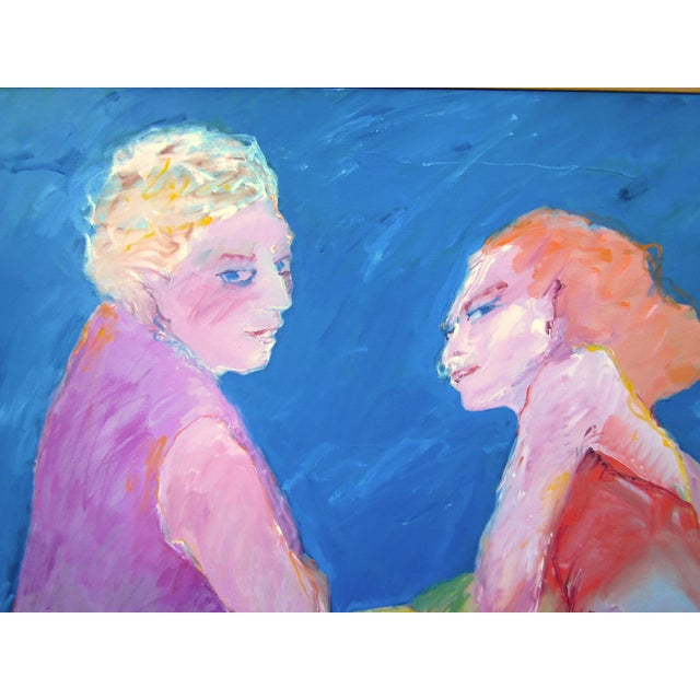 """Suzanne Peters 1970s Vintage Suzanne Peters """"Two Women at the Lake"""" Beach Swimmers Oil on Canvas Painting For Sale - Image 4 of 12"""