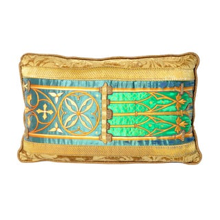 Antique Gothic Revival Gold Embroidery on Emerald Green Silk and Velvet Pillow - 24ʺW × 24ʺH For Sale