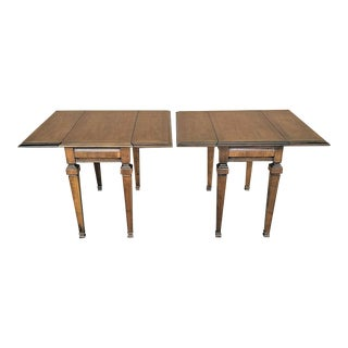 Lane Drop-Leaf Traditional Italian Provincial Solid Wood End Side Tables - Set of 2 For Sale