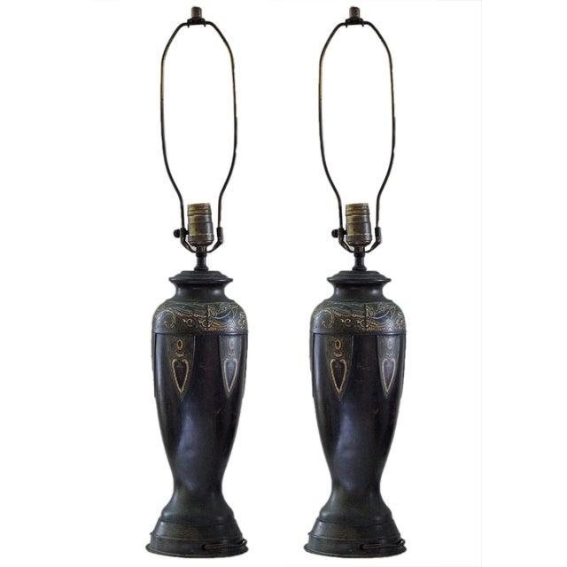 Vintage Cloisonne Lamps - Pair For Sale