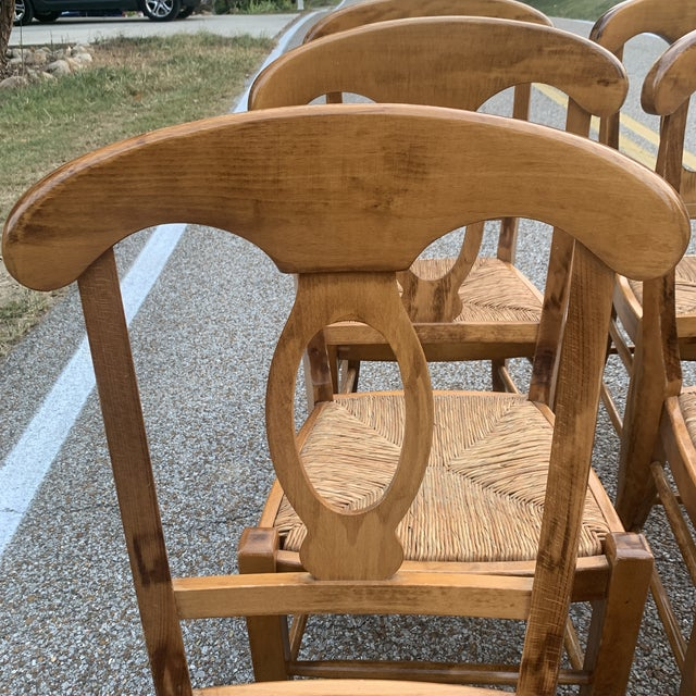 Pottery Barn Pottery Barn Natural Wood Finish Rush Seat Chairs - Set of 6 For Sale - Image 4 of 12
