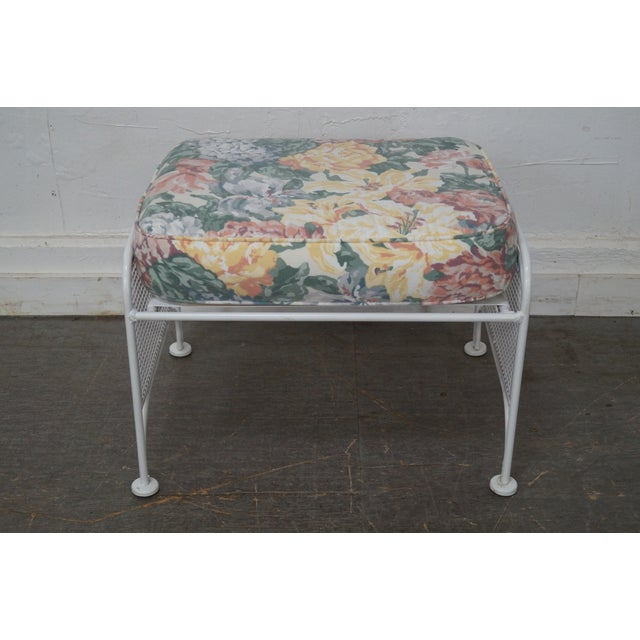 Vintage Woodard White Painted Patio Glider Lounge Chair & Ottoman For Sale In Philadelphia - Image 6 of 10