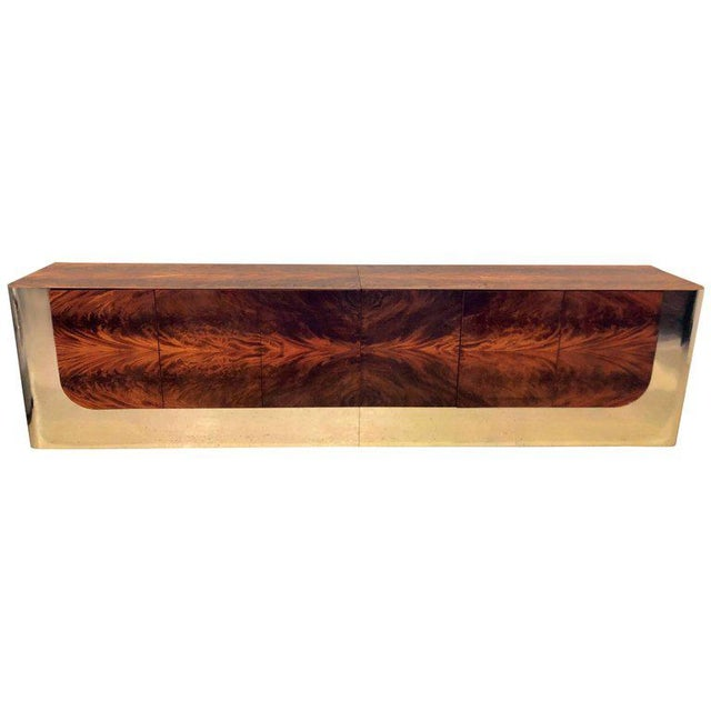 Monumental Sideboard of Chrome and Burl Wood by Pace Collection For Sale - Image 11 of 12