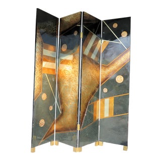 Abstract Art Deco Motif 4 Panel Screen For Sale