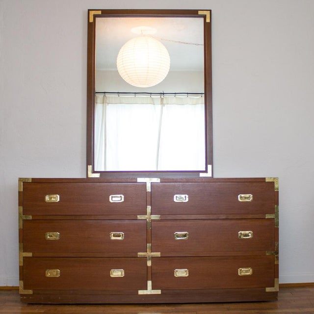 Mid century campaign style low boy dresser with six substantial drawers includes a large detachable mirror. I can't get...