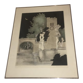 "1970s Expressionist 9/78 Screen Print ""Psyche & Amor"" by Susan Hall For Sale"