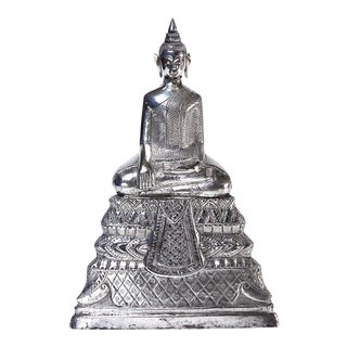 19th Century Cambodian Silver Buddha For Sale
