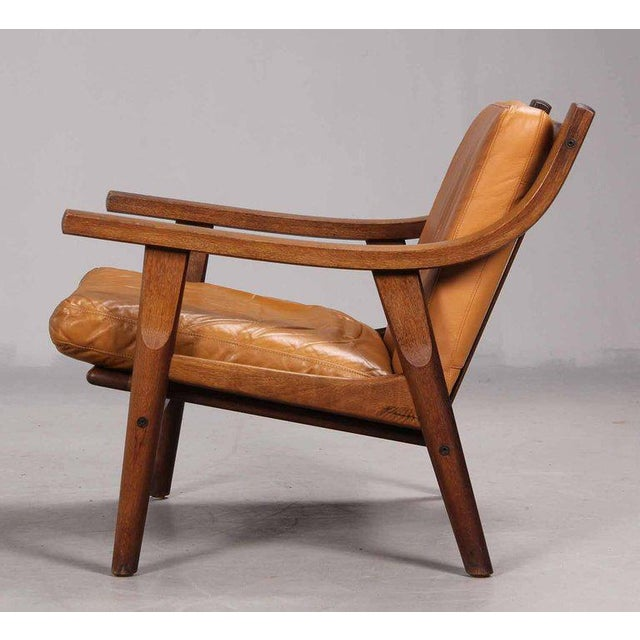 Mid-Century Modern Leather Upholstered Armchair by Hans Wegner For Sale - Image 3 of 6