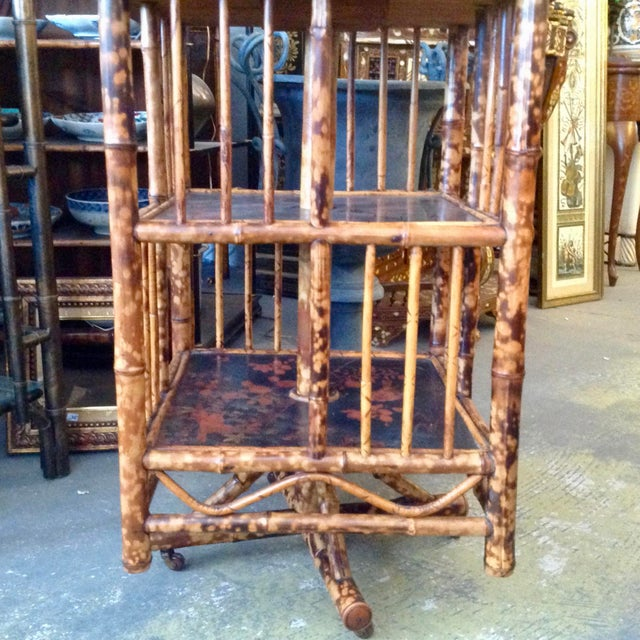 Wood Chinoiserie Bamboo Revolving Bookcase For Sale - Image 7 of 13