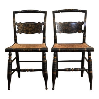 1940s Antique L. Hitchcock Rush Bottom Bolster Turtle Back Side Chairs- A Pair For Sale
