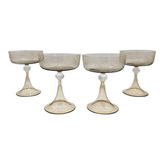 Mid 20th Century Modern Etched Smoky Glass Champagne/ Dessert Glasses - Set of 4 - Set of 4 For Sale