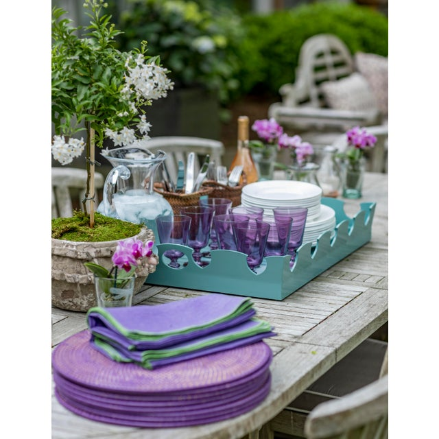 Oomph Oomph Ocean Drive Outdoor Tray, Blue For Sale - Image 4 of 7