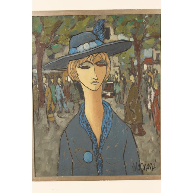 Painting of a Lady in Blue by Philippe Marchand For Sale - Image 4 of 13