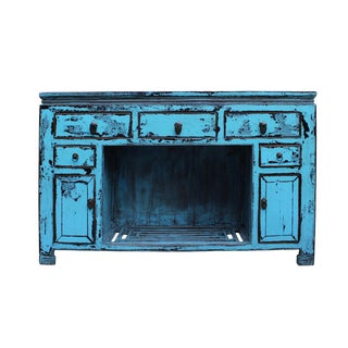Oriental Rustic Blue Credenza For Sale