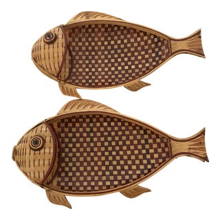 Vintage Woven Fish Baskets - a Pair For Sale
