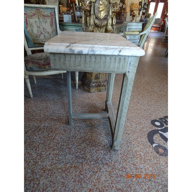 French Pair of French Marble Top Consoles For Sale - Image 3 of 11