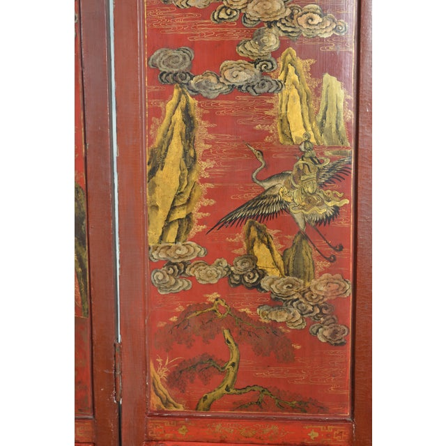 Red 19th Century Chinoiserie Screen For Sale - Image 8 of 9