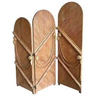 Rattan Three-Panel Folding Screen After Tony Duquette For Sale