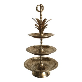 1980s Traditional Brass Pineapple 3 Tier Serving Dish