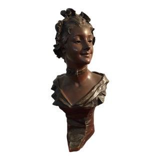 Early 20th Century Antique G Van Der Straeten Bronze Bust of Smiling Woman Sculpture For Sale