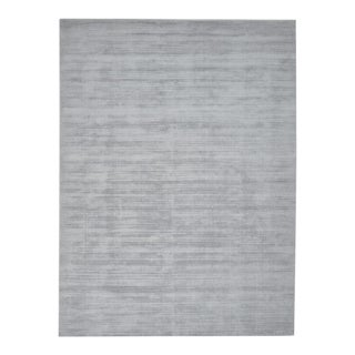Milo, Contemporary Solid Loom Knotted Area Rug, Silver, 8 X 10 For Sale