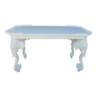 1970s Hollywood Regency Gampel Stoll White Lacquer Elephant Writing Desk For Sale