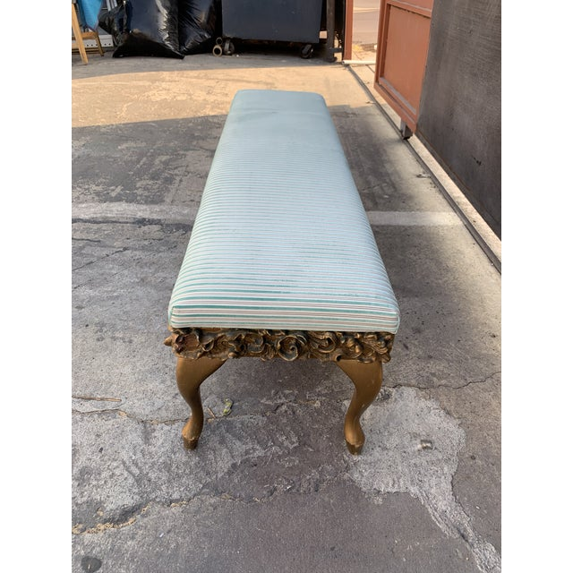 1950s Guilded bench with silk striped velvet new upholstery