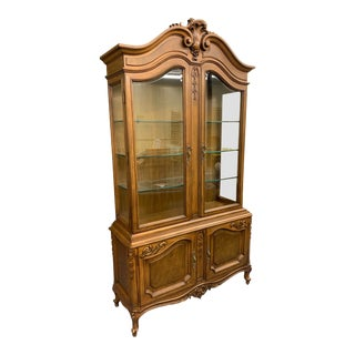 French Provincial Karges Louis XV Walnut Curio For Sale
