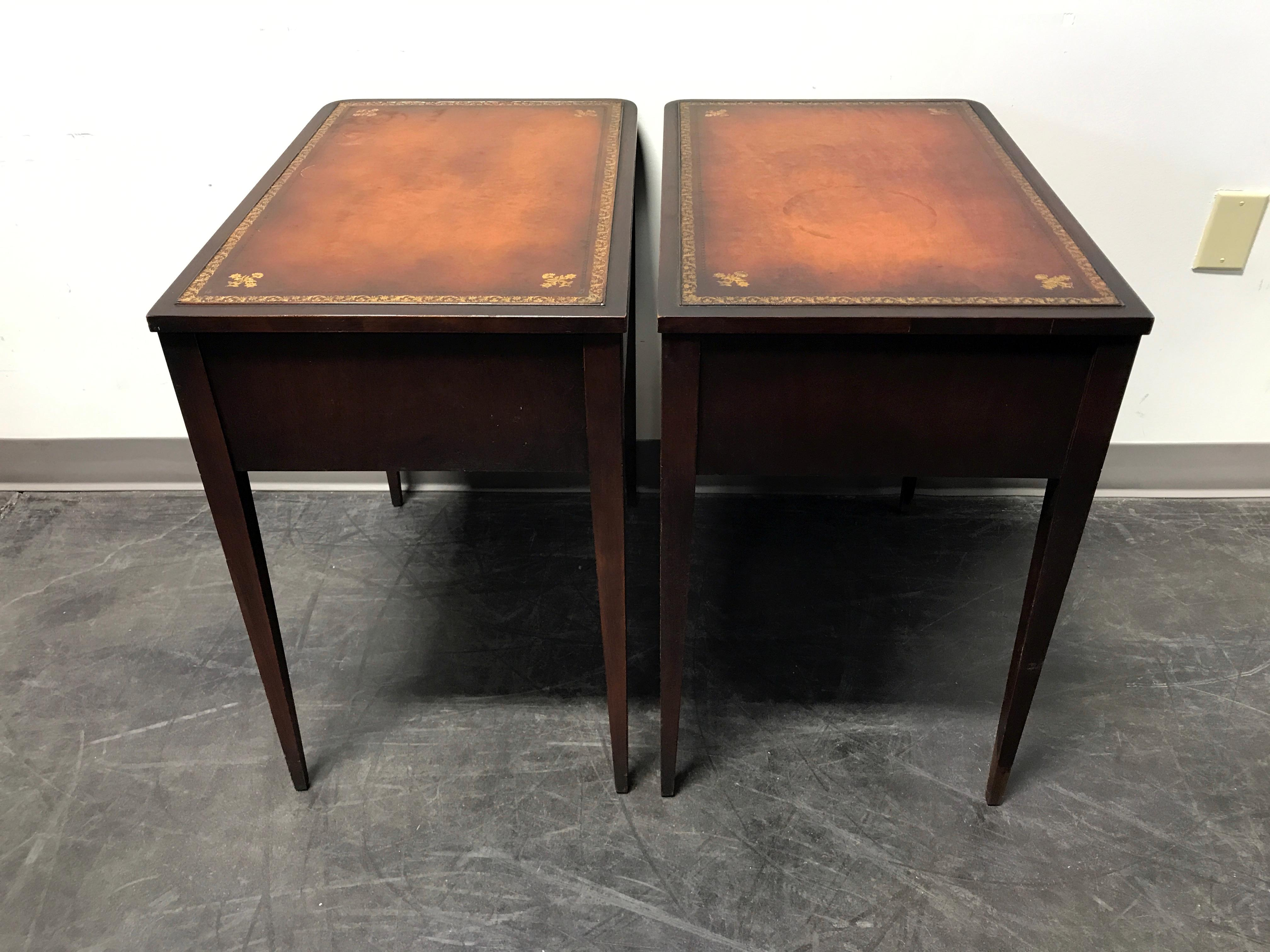 Vintage Leather Top Mahogany End Tables  A Pair   Image 11 Of 11