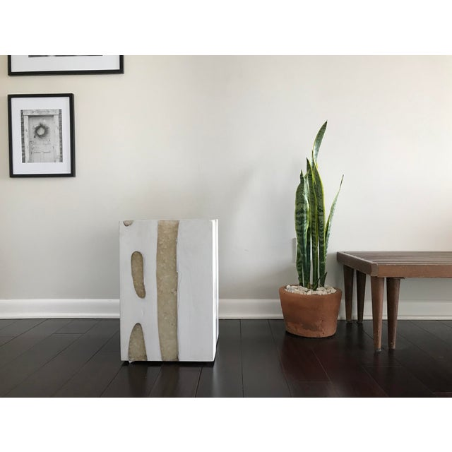 Modern Mieke by Made Goods White Teak Wood and Crystal Resin Side Table Stool For Sale In Los Angeles - Image 6 of 12