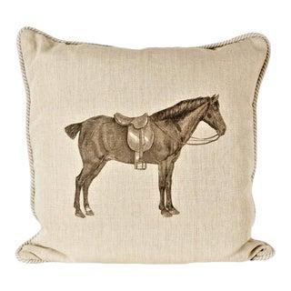 Horse & Saddle Linen Equestrian Pillow For Sale