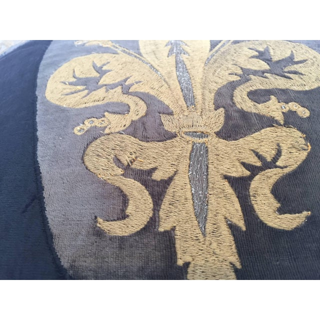 Black Moroccan Black Silk Decorative Pillow With Gold Metallic Threads and Tassels For Sale - Image 8 of 10