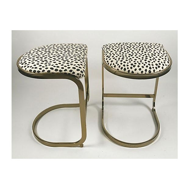 Milo Baughman Style Brass Cantilever Stools - A Pair For Sale In Kansas City - Image 6 of 10