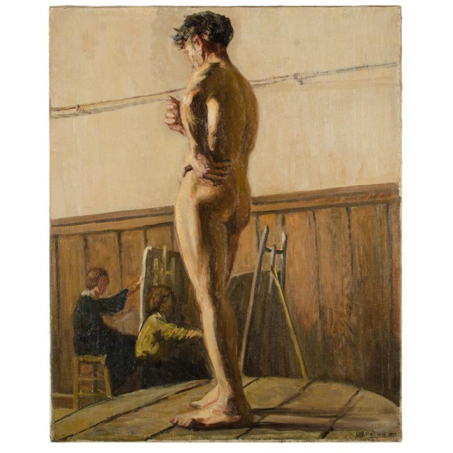 19th Century Portrait of a Nude Male Study Oil Painting by Louis Henri Revillon For Sale - Image 13 of 13