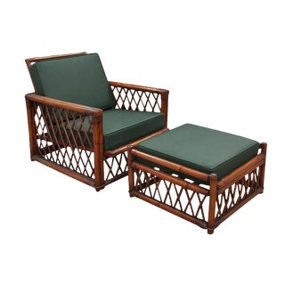 1970s Vintage Ficks Reed Bamboo Lounge Chair and Ottoman For Sale
