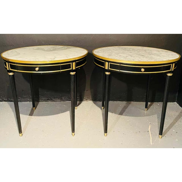 Pair of Maison Jansen Style Bouillotte or End Tables, Ebony Bronze Marble Top For Sale - Image 4 of 13