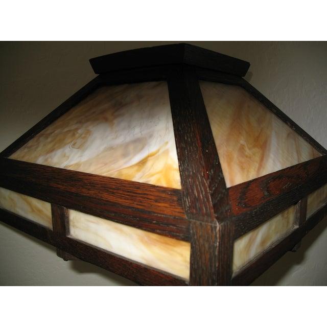 Vintage Antique Arts & Crafts Mission Oak Lamp - Image 3 of 7